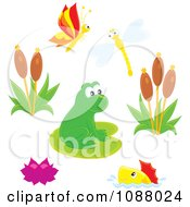 Clipart Cute Frog At A Busy Pond With Insects Fish And Plants Royalty Free Vector Illustration