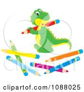 Clipart Cute Dinosaur With Colored Pencils Royalty Free Vector Illustration by Alex Bannykh