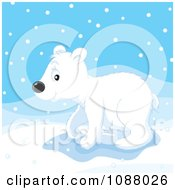 Clipart Polar Bear Cub Walking In Snow Royalty Free Vector Illustration by Alex Bannykh