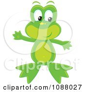 Clipart Cute Frog Waving Royalty Free Vector Illustration by Alex Bannykh