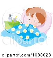 Clipart Feverish Boy With Medicine And A Thermometer In Bed Royalty Free Vector Illustration by Alex Bannykh