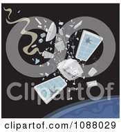 Clipart Satellite Crashing Down To Earth Royalty Free Vector Illustration