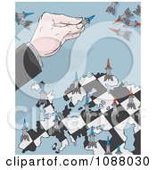 Clipart Businessman Moving Rockets On A Map Checker Board Royalty Free Vector Illustration