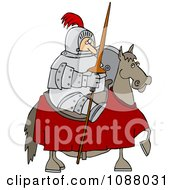 Clipart Jousting Knight Holding His Lance On His Horse Royalty Free Vector Illustration