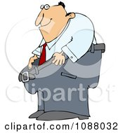 Clipart Man Smiling And Holding Out His Fat Pants Royalty Free Vector Illustration by djart