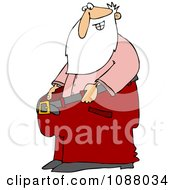 Clipart Thin Santa Holding Out His Big Pants After Losing Weight Royalty Free Vector Illustration by djart