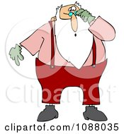 Clipart Santa Looking Shocked Over His Glasses Royalty Free Vector Illustration