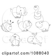 Outlined Bee Elephant Snake Dog Hippo Penguin And Whale