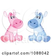 Cute Sitting Blue And Pink Boy And Girl Horses
