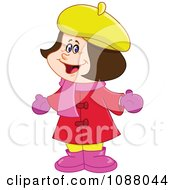 Clipart Happy Girl In Winter Apparel Royalty Free Vector Illustration