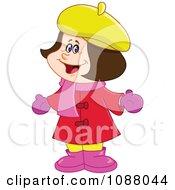 Clipart Happy Girl In Winter Apparel Royalty Free Vector Illustration by yayayoyo
