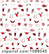 Clipart Seamless Pattern Background Of Mouths Royalty Free Vector Illustration
