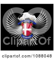Clipart 3d Winged Denmark Shield And Soccer Ball Royalty Free CGI Illustration