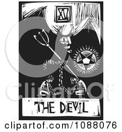 Clipart Woodcut Styled Devil Tarot Card In Black And White Royalty Free Vector Illustration by xunantunich