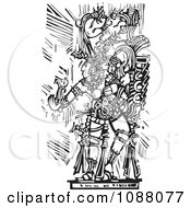 Mayan Warrior Or King Holding Out A Hand Black And White Woodcut