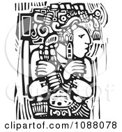 Mayan Warrior King With Arms Crossed Black And White Woodcut
