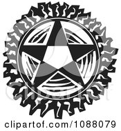 Clipart Pentagram Star Black And White Woodcut Royalty Free Vector Illustration