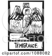 Clipart Woodcut Styled Temperance Angel Tarot Card In Black And White Royalty Free Vector Illustration