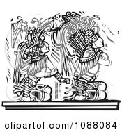 Mayan Warrior Seated Behind A King Black And White Woodcut