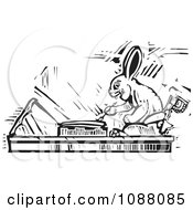 Clipart Rabbit Scribe Black And White Woodcut Royalty Free Vector Illustration