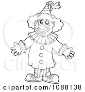 Clipart Outlined Circus Clown Welcoming Royalty Free Vector Illustration