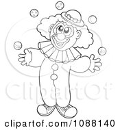 Clipart Outlined Clown Juggling Royalty Free Vector Illustration
