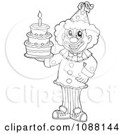 Clipart Outlined Circus Clown Holding A Birthday Cake Royalty Free Vector Illustration