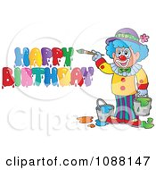 Clipart Artist Clown Painting Happy Birthday Royalty Free Vector Illustration by visekart