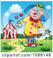 Clipart Clown Juggling With One Hand Royalty Free Vector Illustration