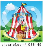 Clipart Circus Clown Looking Out Of A Big Top Tent Royalty Free Vector Illustration by visekart