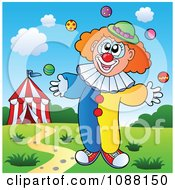 Clipart Clown Juggling Royalty Free Vector Illustration by visekart