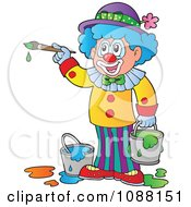 Clipart Circus Clown Painting Royalty Free Vector Illustration by visekart