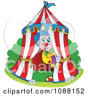 Clipart Circus Clown Peeking Out Of A Big Top Tent Royalty Free Vector Illustration by visekart