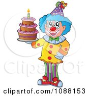 Clipart Circus Clown Holding A Birthday Cake Royalty Free Vector Illustration
