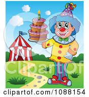 Clipart Circus Clown Holding A Cake Royalty Free Vector Illustration
