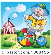 Clipart Circus Clown Riding A Bicycle Royalty Free Vector Illustration