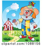 Clipart Circus Girl Holding A Flower And Horn Royalty Free Vector Illustration