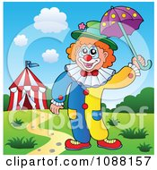 Clipart Outlined Circus Clown Holding An Umbrella Royalty Free Vector Illustration