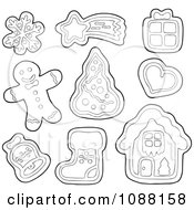 Clipart Outlined Christmas Snowflake Star Gift Heart Tree Bell Stocking House And Man Gingerbread Cookies Royalty Free Vector Illustration by visekart