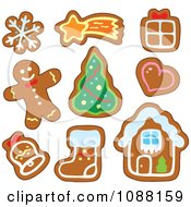 Clipart Christmas Snowflake Star Gift Heart Tree Bell Stocking House And Man Gingerbread Cookies Royalty Free Vector Illustration by visekart