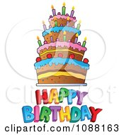 Clipart Happy Birthday Greeting And Cake Royalty Free Vector Illustration by visekart