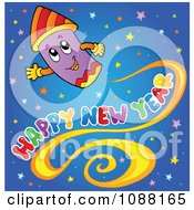Clipart Firework And Happy New Year Greeting Over Stars Royalty Free Vector Illustration by visekart