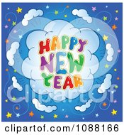 Clipart Happy New Year Firework Explosion With Stars Royalty Free Vector Illustration