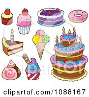 Clipart Cakes Ice Cream And Desserts Royalty Free Vector Illustration by visekart