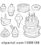 Clipart Outlined Cakes Ice Cream And Desserts Royalty Free Vector Illustration by visekart