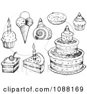 Clipart Black And White Sketched Birthday Cakes Ice Cream And Cupcakes Royalty Free Vector Illustration by visekart