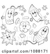 Clipart Outlined Happy Holiday Fireworks 1 Royalty Free Vector Illustration