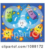 Clipart Happy Holiday Fireworks 1 Royalty Free Vector Illustration