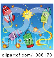 Clipart Happy Holiday Fireworks 2 Royalty Free Vector Illustration