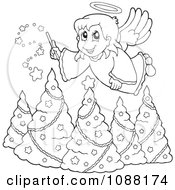 Clipart Outlined Christmas Angel Girl With A Wand Over Trees Royalty Free Vector Illustration
